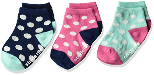 Heavyweight Spandex Tights - Stride Rite Baby Girls 3pk Melissa Dots with Non Skid Quarter, Melissa Dots-Assorted Pastels, 4-5.5 (Shoe Size 1-3)