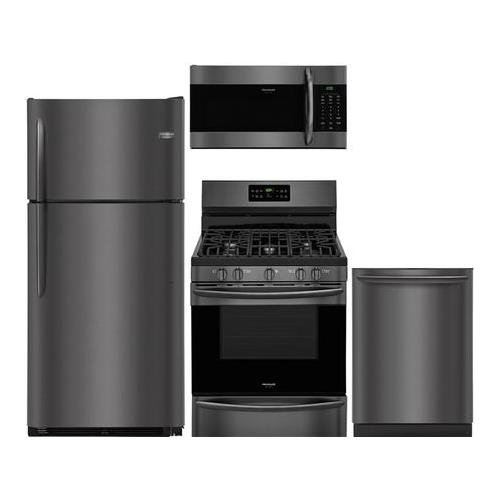 (Frigidaire 4-Piece Black Stainless Stee Kitchen Package with FGTR1842TD 30 Top Freezer Refrigerator, FGGF3036TD 24 Freestanding Gas Range, FGMV176NTD 30 Over The Range Microwave and FGID2466QD 24 Fully Integrated Dishwasher)