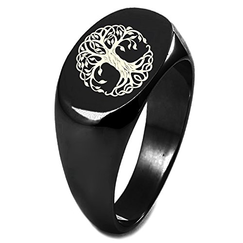 Black IP Plated Sterling Silver Celtic Knot Tree of Life Symbol Engraved Oval Flat Top Polished Ring, Size 8