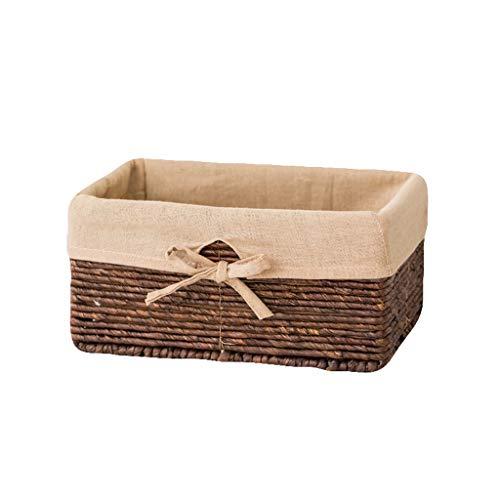 LCSHAN Storage Basket Straw Weaving Storage Basket Desktop Debris Storage Basket Storage Box Rectangular Rattan Fabric Finishing Basket Wicker (Color : Khaki, Size : Medium) (Furniture Wicker Rattan Between Difference And)