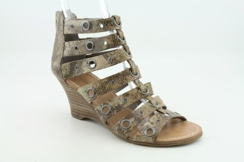 Inc International Concepts Blanca Mujeres Sz 7 Brown Strappy Leather Cuñas Zapatos