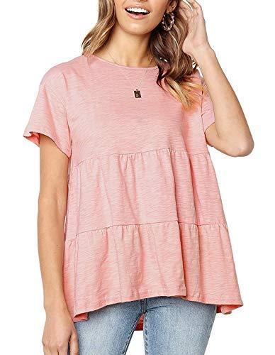 - QEESMEI Womens Loose Flare Short Sleeve Cute T Shirt Summer Pleated Casual Cotton Peplum Hem Tunic Top Pink