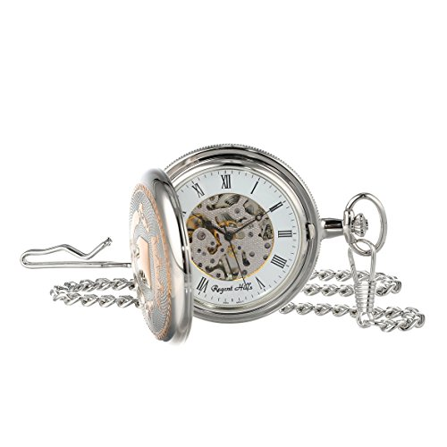 Regent Hills Vintage Silver Two Tone Mechanical Pocket Watch With Chain 55052TR/LFS-W2