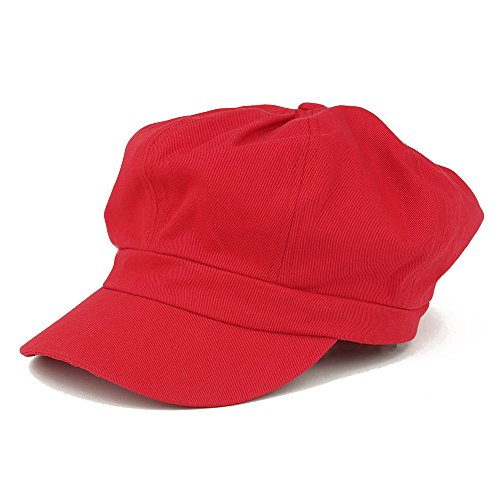 Women's Lightweight 100% Cotton Soft Fit Newsboy Cap with Elastic Back - Red -