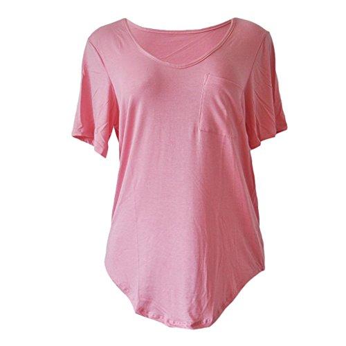 Sumtory Women Plus Size Short Sleeve V Neck Loose Top Shirt – Large, Pink