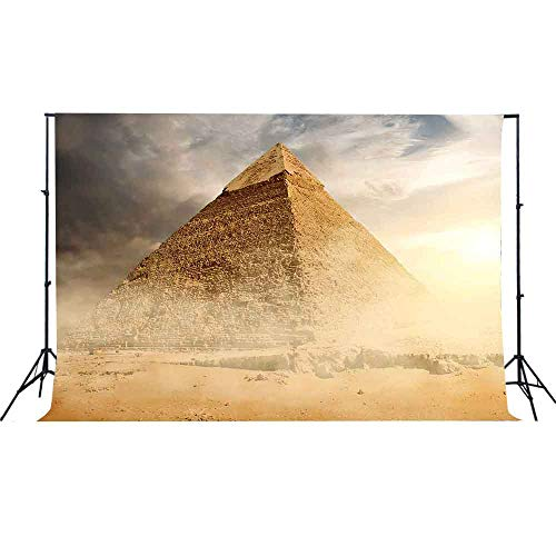 Egyptian Pyramid Photography Background Egyptian Travel Themed Party Sunshine Blue Sky EARVO 7x5ft Cotton Backdrop Studio Video Props EAXC534 ()