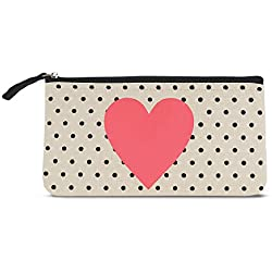 "Graphique Heart and Dots Small Zip Pouch - Thick Cotton Canvas Storage Bag w/Inside Liner and Zipper, Great for Storing Keys, Phone, Notes, and More, 9.25"" x 5"""