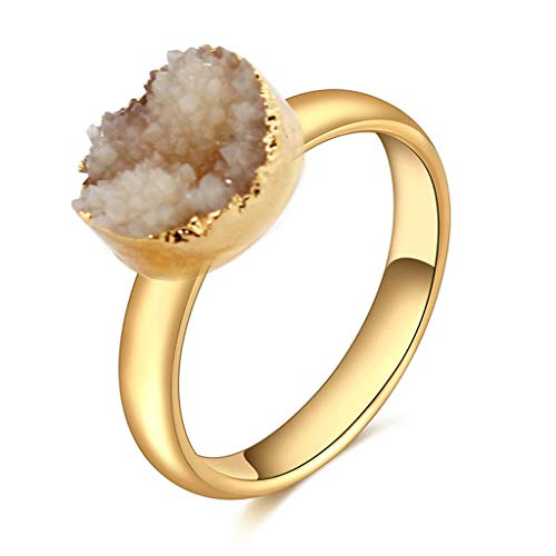 - oukery Ring for Women, Resin Druzy Stone Ring Band Created Quartz Geode Crystal Fashion Jewelry Unisex