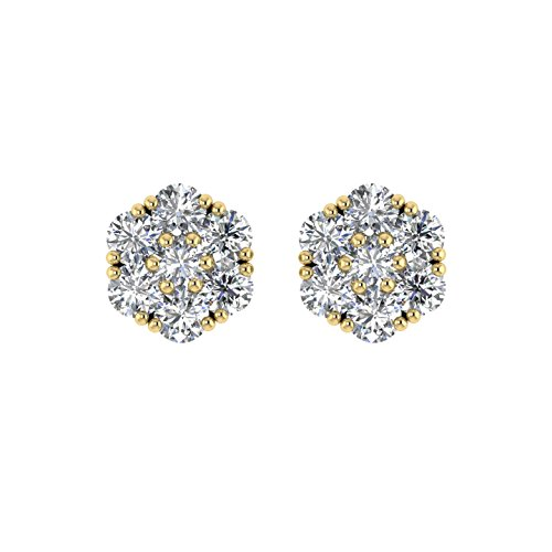 Delight femmes de diamant 14K Boucles d'oreille Clous en forme de fleur (VS1-VS2, 1/2carat)