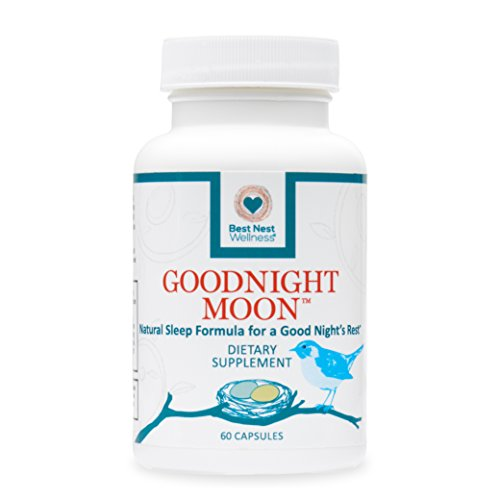 Goodnight Moon Natural Sleep Aid | 60 Non-Habit Forming Capsules, Herbal Sleep Aid, with Melatonin, Chamomile, Valerian, Magnesium, Relaxation & Deep Sleeping Supplement Pills, Best Nest Wellness