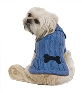 Fashion Pet Bone Patch Xtra-Small Cable Dog Sweater, Blue