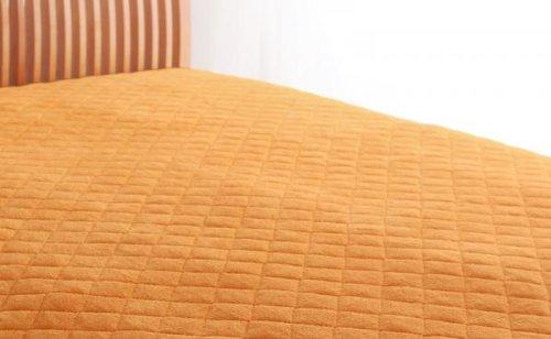 綿100%で快適!パッド一体型ボックスシーツ 同色2枚セット (キング) サニーオレンジ B072L4N79P サニーオレンジ キング