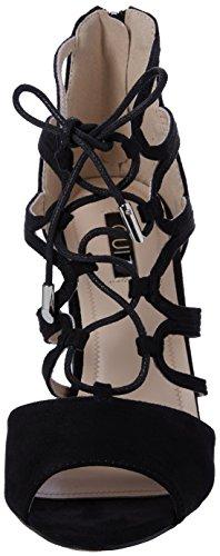 Quiz Faux Suede Lace Up Block Heel Sandals - Zapatos Mujer Black (Black)