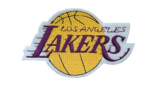 2 pieces LA LAKERS Iron On Patch Embroidered NBA Badge Applique Los Angeles Basketball Sports Team Logo Decal 4.1 x 2.6 inches (10.3 x 6.5 cm)