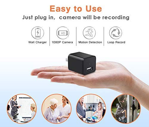Eyecontik Spy Camera Charger - Free Micro SD Card Included - Hidden Camera - Spy Cam - Nanny Cameras - Hidden Security Camera - Mini Camera - Wall Charger - Small Camera - Surveillance Camera Full HD