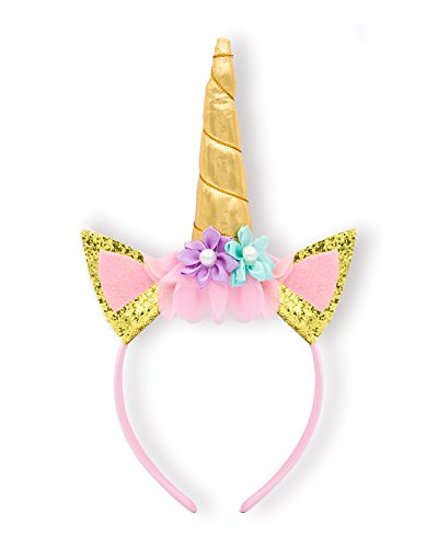 Gudukt Unicorn Headband Gold and Silver Tone with Hair Clasp and Flowers for Girls