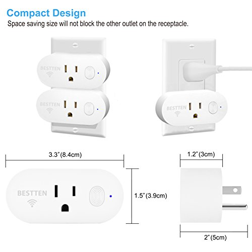 [2 Pack] BESTTEN 15A/1875W Mini Wi-Fi Smart Outlet with Energy Monitoring, Works with Amazon Alexa Echo and Google Home, Easy & Quick Set Up, No Hub Required, FCC Certified, White by BESTTEN (Image #1)