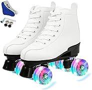 Women's Roller Skate Classic High-Top Roller Skates PU Leather Double-Row Roller Skates Four-Wheel Roller