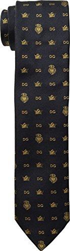 Dolce & Gabbana  Men's Logo Tie Navy One - & Logo Dolce Gabbana