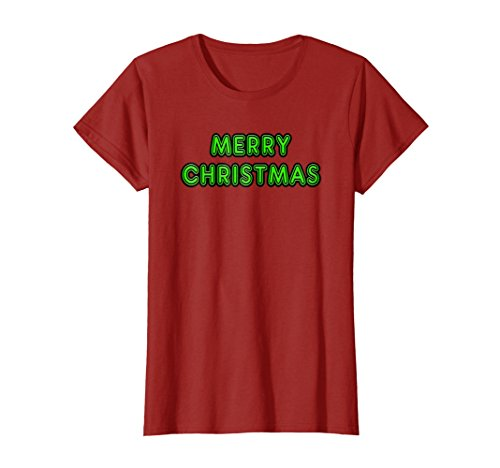 Womens Neon Sign Green Ugly Merry Christmas Sweater T-Shirt XL Cranberry
