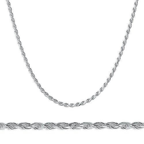 Price comparison product image 925 Sterling Silver Italian 2mm Magic Diamond-Cut Rope Chain Crafted Necklace Thin Lightweight Strong - Lobster Claw Clasp (18, sterling-silver)