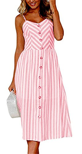 Summer Striped Dresses for Women Spaghetti Strap Midi Button Down Swing Dress Small 95-Pink
