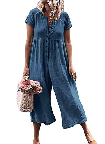 LAMISSCHE Womens Casual Button Down Short Sleeve Jumpsuit Romper Solid Loose Wide Leg Long Pants(Dark - Cotton Wide Pant Leg Cuffed