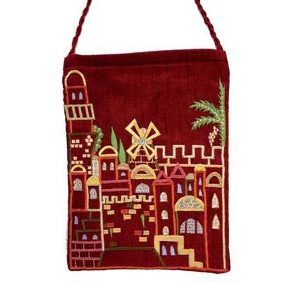 Top Handle Handbags For Women - Yair Emanuel Judaica EMBROIDERED BAG JERUSALEM MAROON (Bundle)