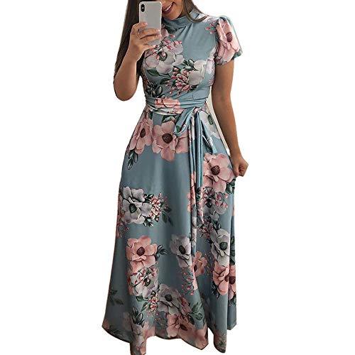 Women's O-Neck Floral Printed Dress Fashion Short Sleeve Bandage Long Dress Light Blue -