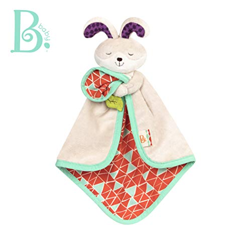 B. Toys - B. Snugglies - Fluffy Bunz The Bunny Security Blanket - Adorable Baby Blankie with Soft Fabric - BPA Free