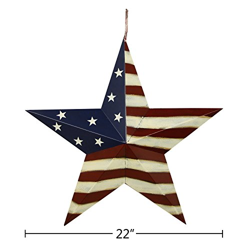 YK Decor Patriotic Old Glory American Flag Barn Star 4th of July Rustic Metal Dimensional 3D Star Wall Decor, (22'') by YK Decor (Image #5)