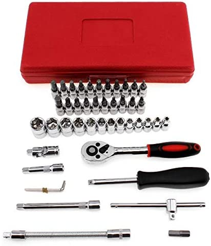 46pcs 1/4-Inch High Quality Socket Set Car Repair Tool Ratchet Set Torque Wrench Combination Bit Set of Keys Chrome Vanadium Set