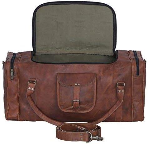 KPL Leather duffel bag 24 Inch U Zip holdall Travel sports Weekend gym Sports