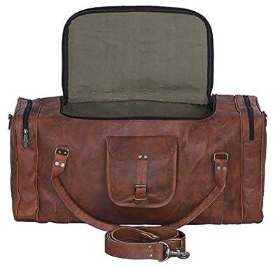 KPL Leather duffelbag 24 Inch U Zip holdall Travel sports Weekend gym Sports