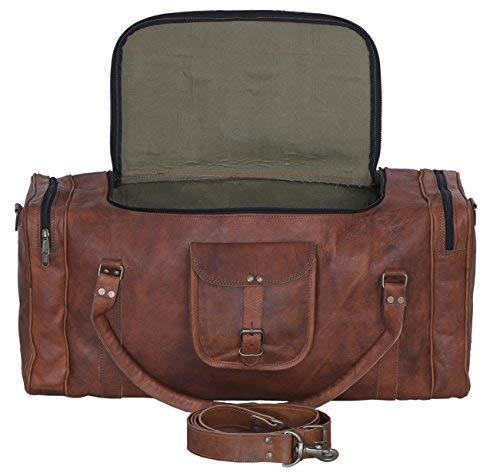 128745c34b Image Unavailable. Image not available for. Color  KPL Leather duffel bag  24 Inch U Zip holdall Travel sports Weekend gym Sports