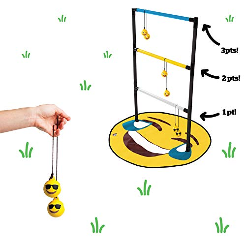 BigMouth Inc Smiley Face Emoji Ladder Toss Game - Hilarious Outdoor Game Set Includes a Ladder Rack, Emoji Game Mat, and 4 Smiley Face Tossing Bolas, Easy Set Up - Fun Family Game for Parties and More