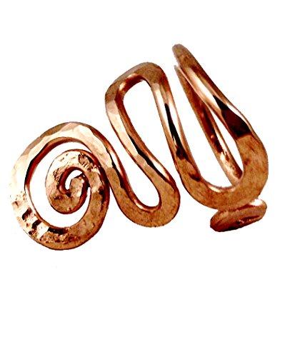 (Elaments Design Solid Copper Ring Adjustable Short Wave Design Size 7-8 Hand Hammered)