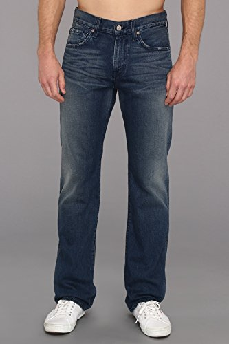 7 For All Mankind Men's Carsen Straight Leg Luxe Performance Jean in Prussian Blue, Prussian Blue, 28