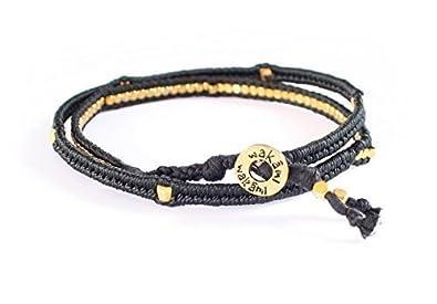 879b55b4a4ad Wakami hecho a mano negro y dorado pulsera   Esperanza y armonía con  cuentas Wrap
