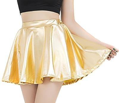 speerise Womens Shiny Metallic Flared Pleated Skater Mini Skirt