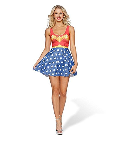 WW7 Wonder Woman One Piece Adult Teen Sleeveless Dress Costume Halloween S~XL