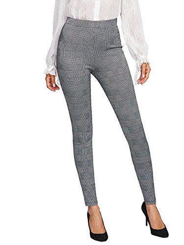 SweatyRocks Women's Casual Plaid Leggings Stretchy Work Pants Grey #2 S (Pants Plaid Womens)
