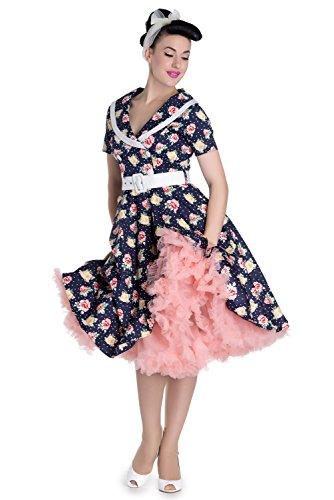 Hell Bunny Emma Floral Retro 1950's Vintage Dress - Navy Blue (M) - Floral Bunny