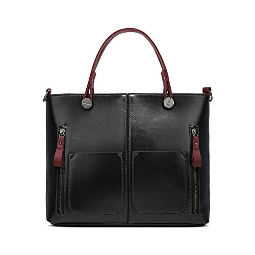 Badiya Retro Oil Wax Leather Women's Satchel Purses Handbags Ladies Tote Bags ()