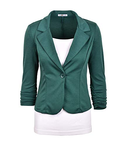 Auliné Collection Women's Casual Work Solid Color Knit Blazer Hunt Green ()