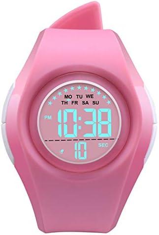 キッズウォッチ LED スポーツ 50m防水 多機能 デジタル腕時計 男の子 女の子 子供 車 ギフト S ピンク