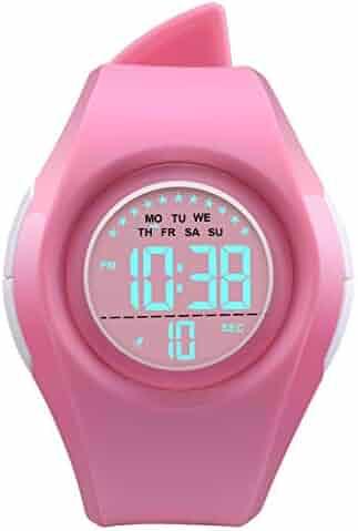 Kids Digital Sport Watch Outdoor Waterproof Watch LED Alarm Stopwatch Child Wristwatch,Toddler Child Watch for Age 3-10Wrist Boys, Girls Pink