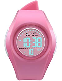 Kids Digital Sport Watch Outdoor Waterproof Watch LED Alarm Stopwatch Child Wristwatch,Toddler Child Watch for Age 3-10Wrist Boys, Girls Pink