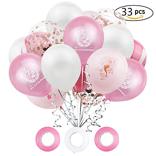 (1/2 Happy Birthday Girl Balloon Kit. 6 Month Birthday Girl. Includes 6pcs 12