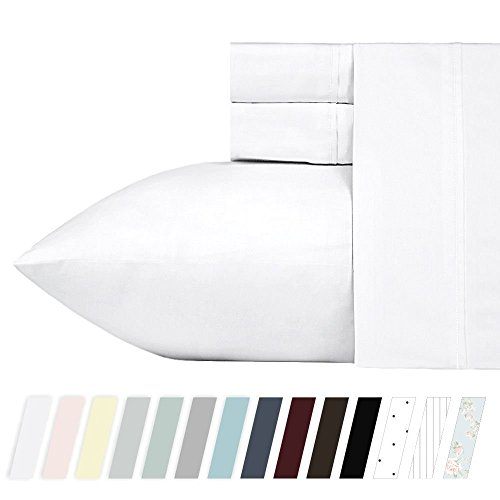 400-Thread-Count 100% Cotton Sheet Pure White Queen-Sheets S